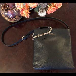 Genuine black leather Furla crossbody bag
